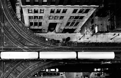 Chicago L Train on Tracks by John Crouch